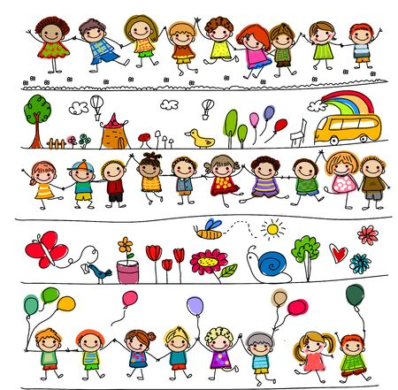 drawing trees: Illustration of cute kids, animals and plants