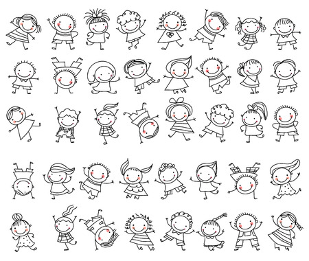 niño y niña: Grupo de niños de dibujo