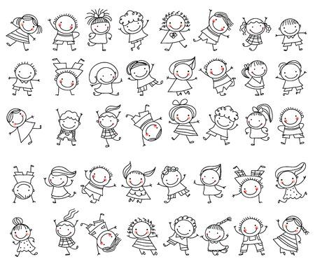 strichmännchen: Gruppe von Skizzen Kinder