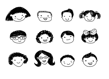 dessin enfants: Croquis des enfants mis Illustration