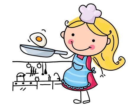 소녀 튀김 계란