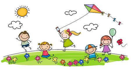 niños jugando en el parque: niños jugando en el parque Vectores