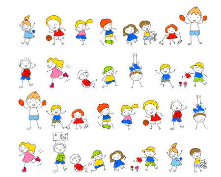 kids fun: Group of sketch kids