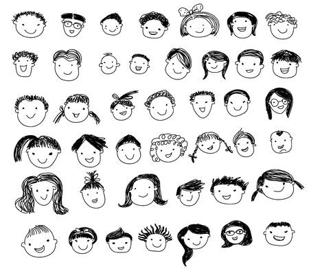 dessin enfants: Un groupe de gens d'esquisse le visage fixé Illustration
