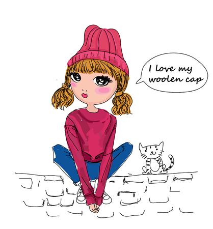 Schets mode meisje Stock Illustratie