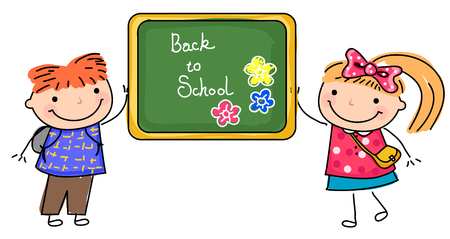 Two children and blackboard-Back to school