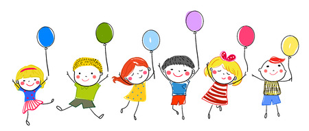 Kids and balloon Illustration