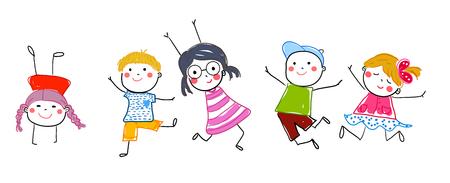Group of jumping children Illusztráció