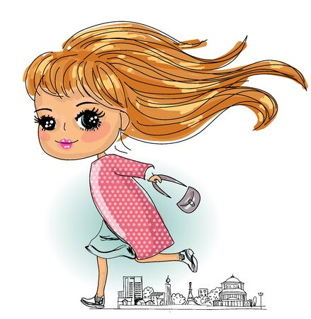 Illustration of a girl holding a handbag Illusztráció