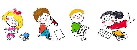 children and book Illusztráció