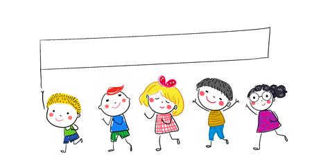 動いている子供のグループ