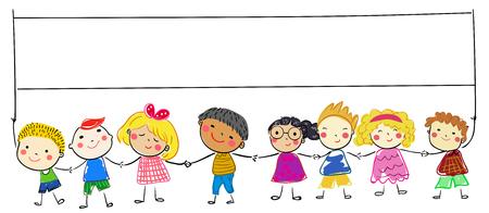 children with banner Illusztráció