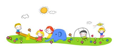 Children playing Illusztráció