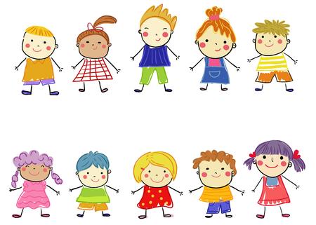 group of children on white background Illusztráció