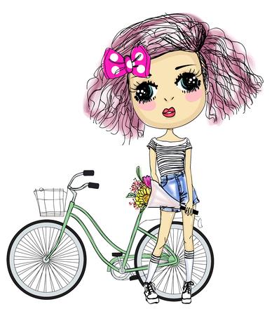 Pretty girl and bike Illusztráció