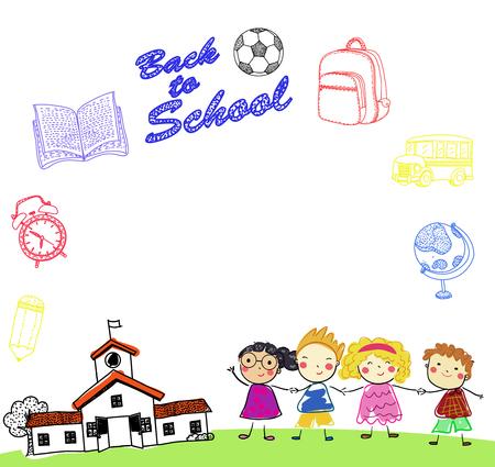 Happy children and school Illusztráció