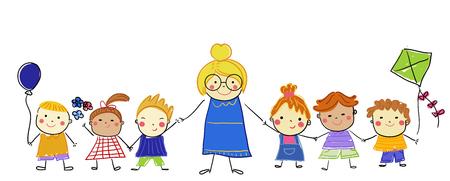 Teacher and students Illusztráció