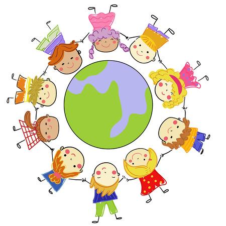 Group of children around the globe