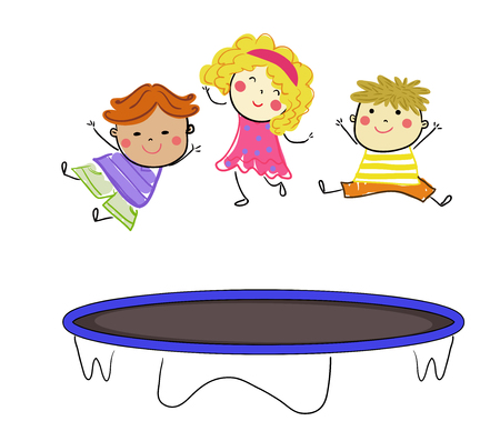 Kids jumping on trampoline.