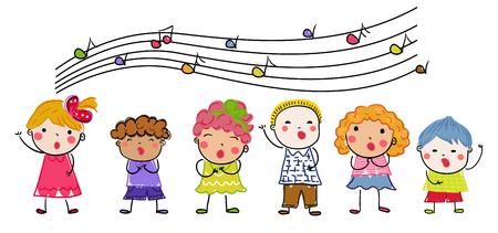 Group of children choir Stock Illustratie