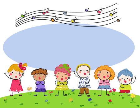 Group of children choir Illusztráció