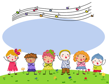 Group of children choir Illustration