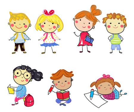 Group of school kids Illusztráció