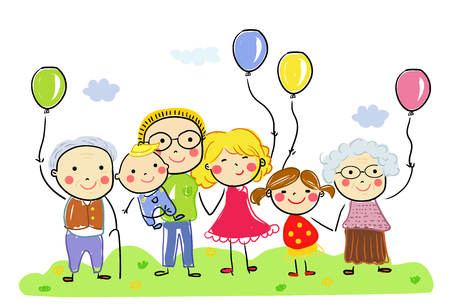 Happy big family with colorful ballon Illusztráció