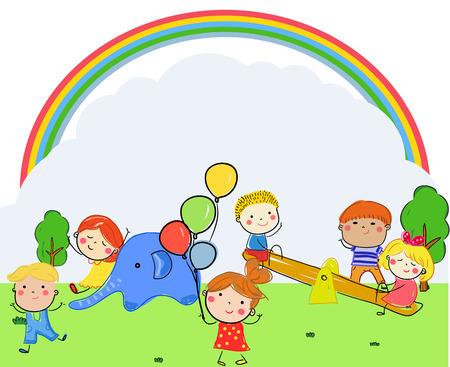 Children playing in park Illusztráció