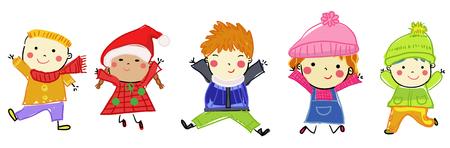 Sketch children - winter Illusztráció