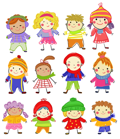 Group of happy children collection