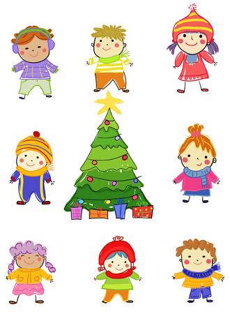 Kids and Christmas tree Illusztráció