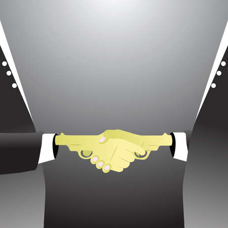 politicians: politicians shaking hands for agreement Illustration