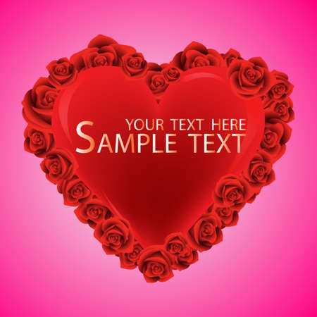 Red Heart, Isolated On orange Background, Vector, rose Vector