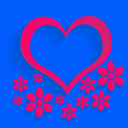 Red Heart, Isolated On Blue Background, Vector, rose Vector