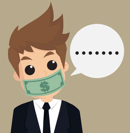 under paid: businessman hush money.vector Illustration