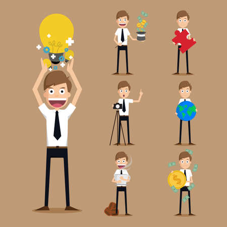 bewitched: Set of businessman characters .vector