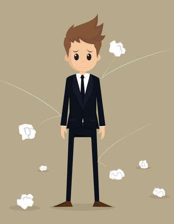 Hurl: businessman poor working.vector Illustration