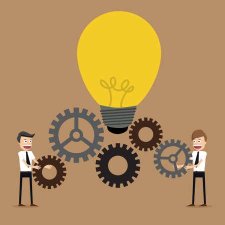 Illustrazione di uomo d'affari con le marce, il lavoro di squadra, illustrazione vettoriale