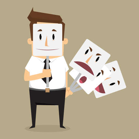 Fake businessman wearing mask smile rage cavaliers. Business concept. vector