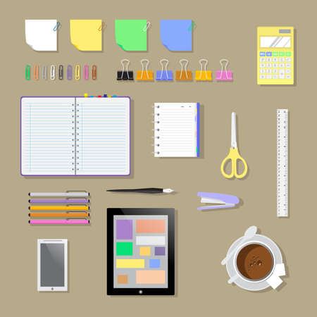 staples: Set flat office workplace environment, tools and essentials. Various devices. Vector collection concept in stylish trendy colors of business items and elements. Isolated vector illustration. Illustration