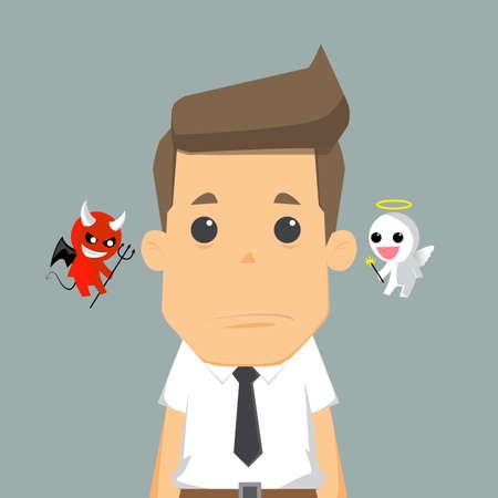 satanas: El diablo del hombro y angel.vector