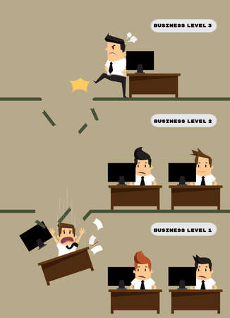 kicked out: Kicked out businessman dropped level.vector