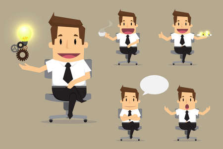 joyful businessman: set of cute characters businessman and office worker poses in various.vector