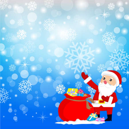 santaclaus: Santa Claus with Christmas Gifts and Background.vector