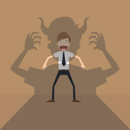 terror: Vector cartoon of Businessman terror devil shadow .vector Illustration