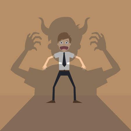 keynote: Vector cartoon of Businessman terror devil shadow .vector Illustration