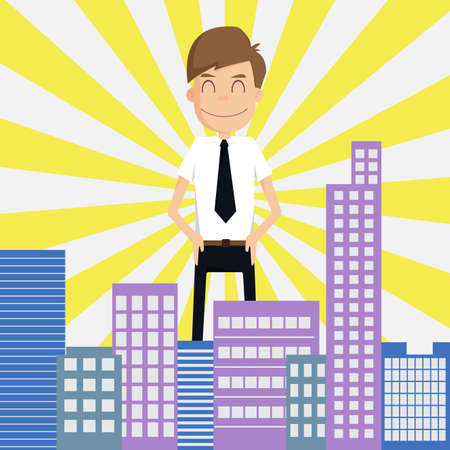 preferred: Businessman looking  Is preferred city on , VECTOR, EPS10