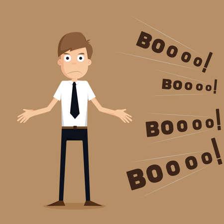 zakenman op vergadering reactie feedback.vector Stock Illustratie