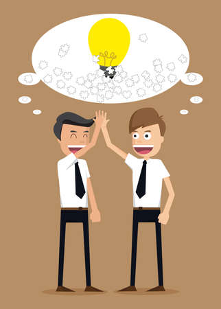 to make believe: teamwork of ideas with businessman.vector